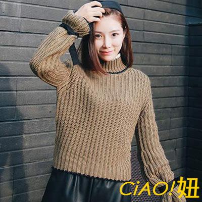 綁帶喇叭袖純色高領毛衣-墨綠色-CiAO妞