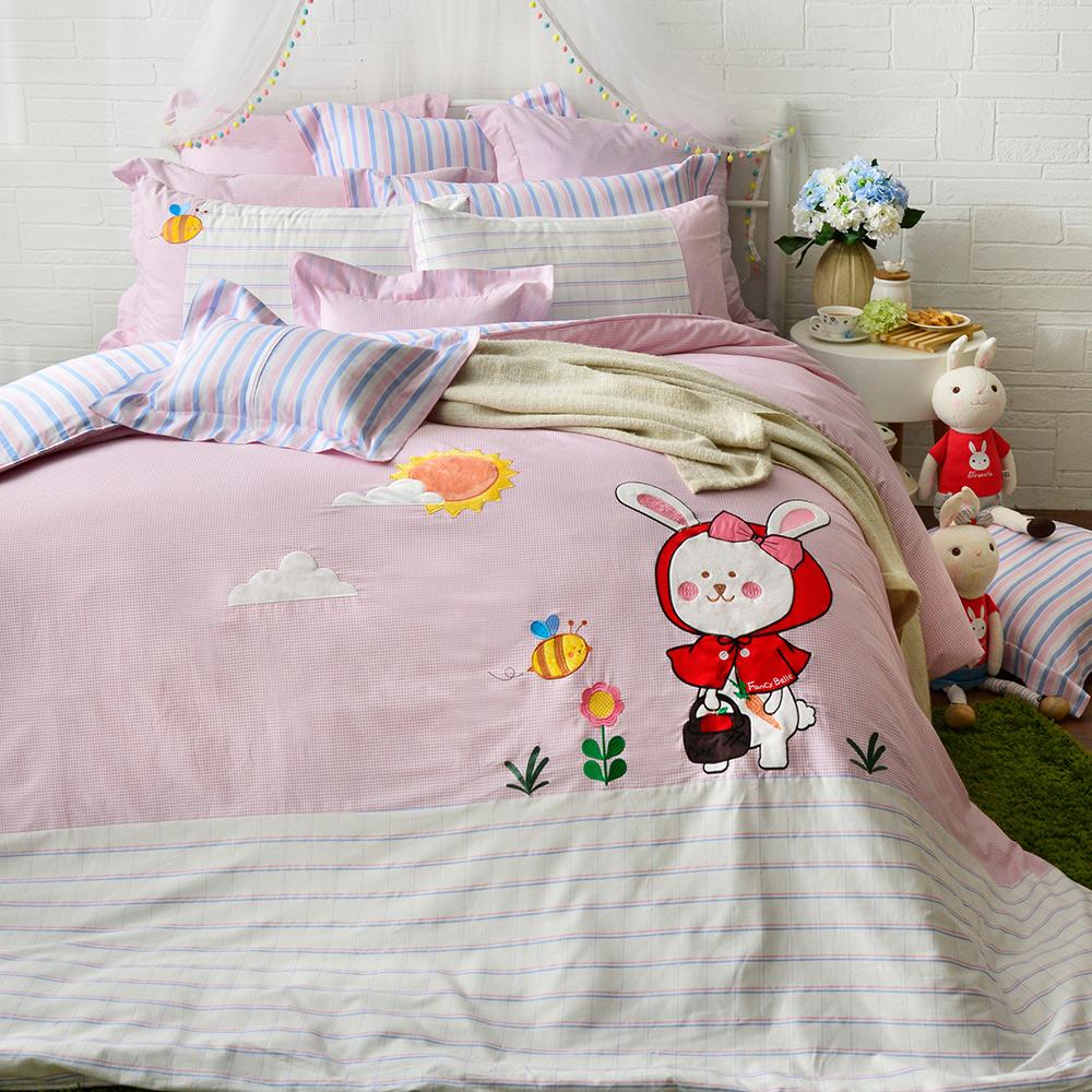 義大利Fancy Belle 加大貼布繡防蹣抗菌吸濕排汗兩用被床包組 貝拉兔郊遊趣