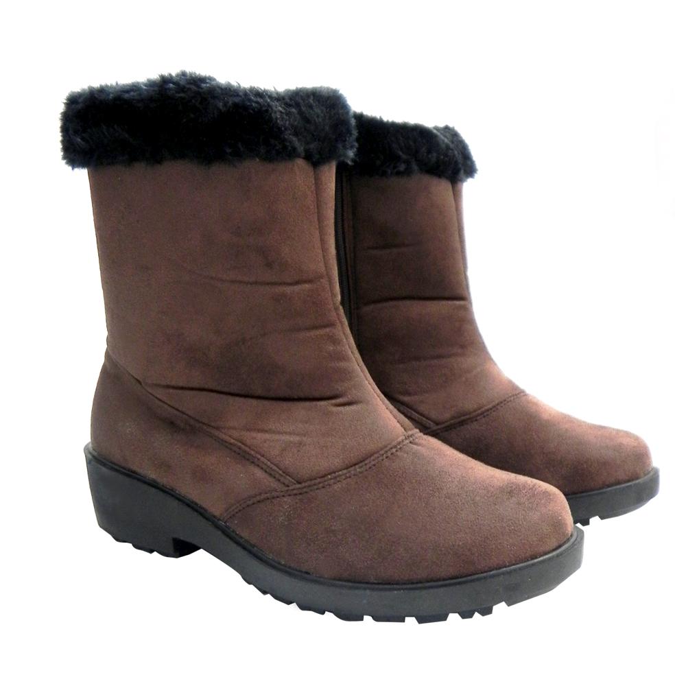 【魅力款】台灣製 女款 中筒專業暖毛保暖雪鞋/雪靴_咖啡