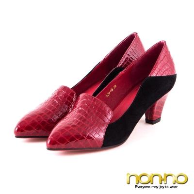 nonno歐美時尚-漆皮蛇紋尖頭粗跟鞋-酒紅