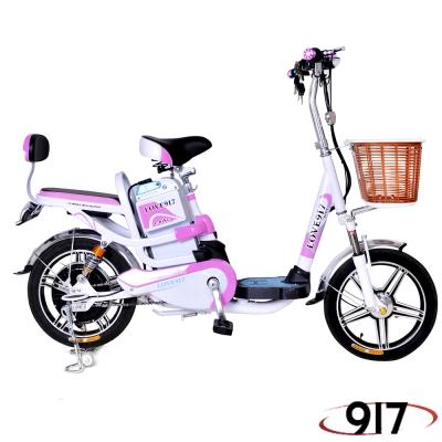 9I7 電動 48鉛酸 LED 輕便 腳踏助力 電動輔助自行車 白粉