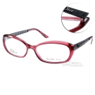DIOR眼鏡 仿皮革壓紋系列/柔酒紅黑#CD3222 GCZ