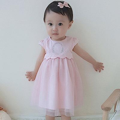 Baby unicorn 粉紅繡花網紗短袖洋裝