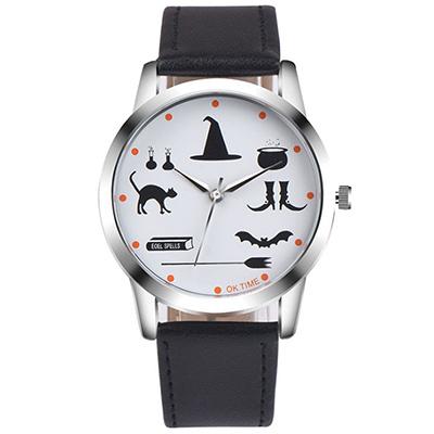 Watch-123 魔法學園-驚奇童趣神秘符號學生手錶-黑色/37mm