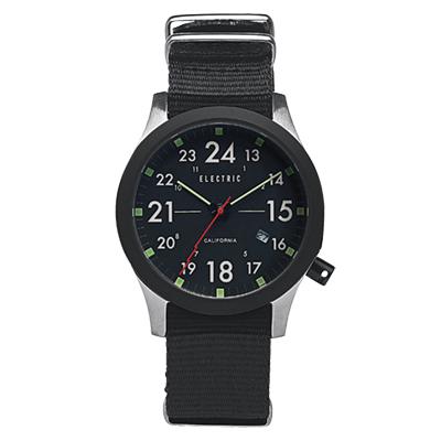 ELECTRIC FW01系列-摩登雅痞風潮腕錶-黑面x黑色帆布帶/綠標/40mm