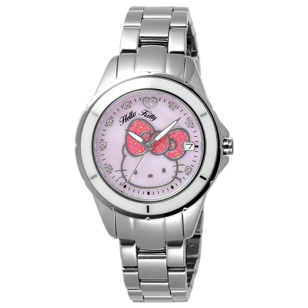 HELLO KITTY 時尚腕錶-銀框白x銀/35mm