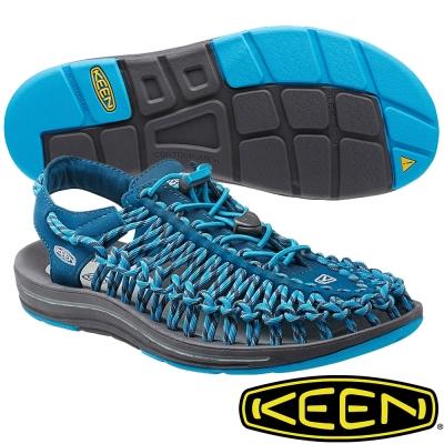 KEEN 男專業戶外護趾涼鞋 Uneek-1014616深藍/土耳其藍