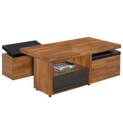 品家居 黛比4尺大茶几(附收納椅凳2入)-120x60x46cm-免組