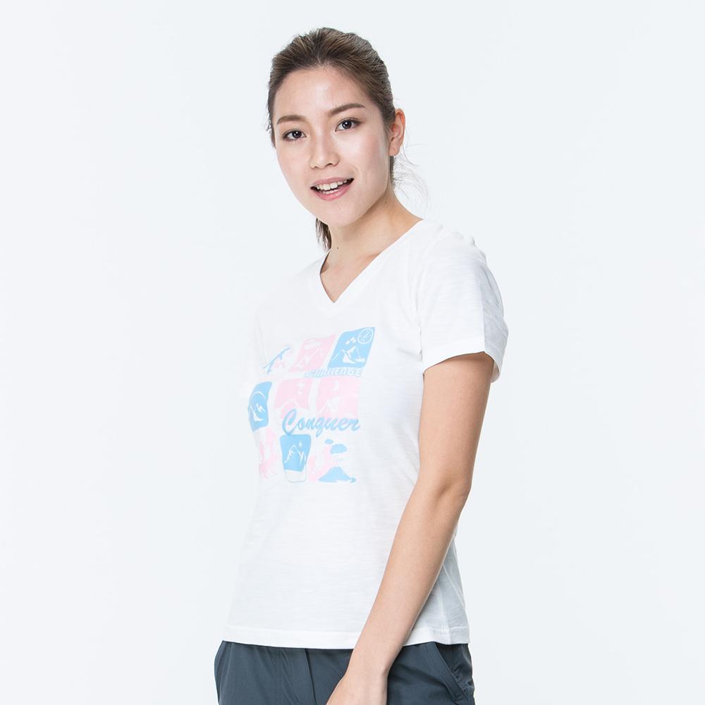 【ATUNAS 歐都納】竹節棉吸濕透氣排汗女款V領短袖T恤A1-T1708W白