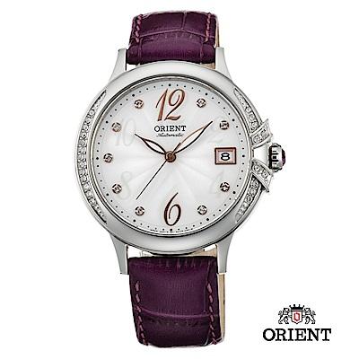 ORIENT 東方錶 ELEGANT系列 璀璨之星機械腕錶 皮帶款 紫色-38mm