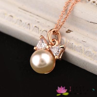 微醺禮物 鋯石 人造珍珠 俏皮公主 項鍊