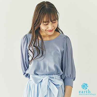 earth music 異素材雪紡袖拼接上衣