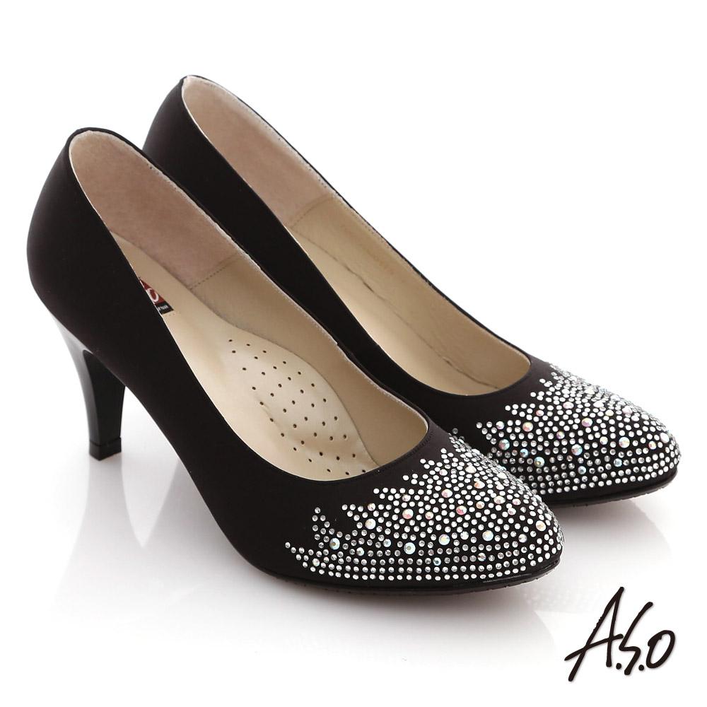 A.S.O 百年好合 絲緞碎鑽質感窩心高跟鞋 黑