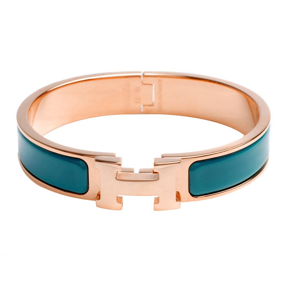 HERMES Clic H LOGO琺瑯細版手環藍綠X玫瑰金