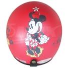 米妮全可拆半罩式機車安全帽-消光紅+抗uv短鏡片+6入安全帽內襯套
