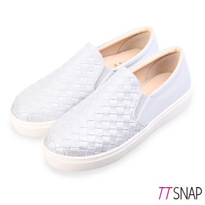 TTSNAP厚底樂福鞋-MIT素面皮革編織真皮休閒鞋 銀