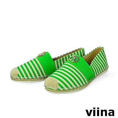 viina-休閒系列-繽紛條紋logo草編鞋