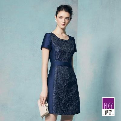 ILEY伊蕾 優雅花卉縫飾質感洋裝魅力價商品(藍)