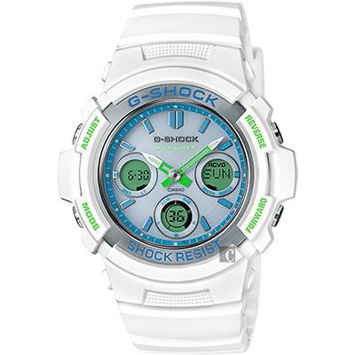 CASIO卡西歐 G-SHOCK 夏日太陽能電波手錶-湖水藍/46.4mm