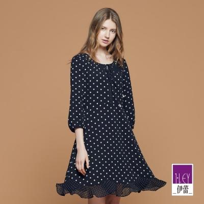 ILEY伊蕾 圓點印花繫繩洋裝魅力價商品(黑)