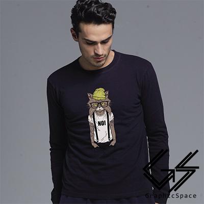 刺青酷貓磨毛水洗長袖T恤 (共三色)-GraphicSpace
