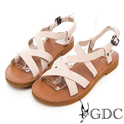 GDC-簡單好搭基本款軟Q交叉綁帶涼鞋-米色