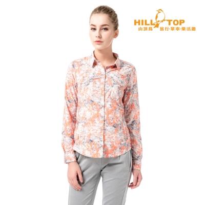 【hilltop山頂鳥】女款吸濕排汗抗UV長袖襯衫S05F68白底灰螢光橘印花
