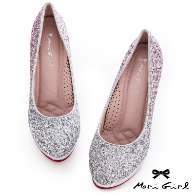 Mori girl夢幻公主-漸層亮片華麗風婚鞋 紫