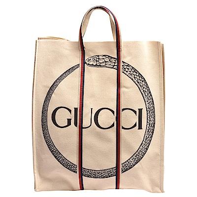 GUCCI 經典ouroboros系列棉質帆布印花綠紅白織帶手提托特包(米)