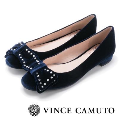 Vince Camuto 麂皮鉚釘甜美搖滾平底鞋-絨寶藍