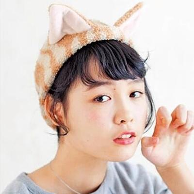 梨花HaNA-日本喵咪珊瑚絨直播貓耳娘可愛洗臉髮帶