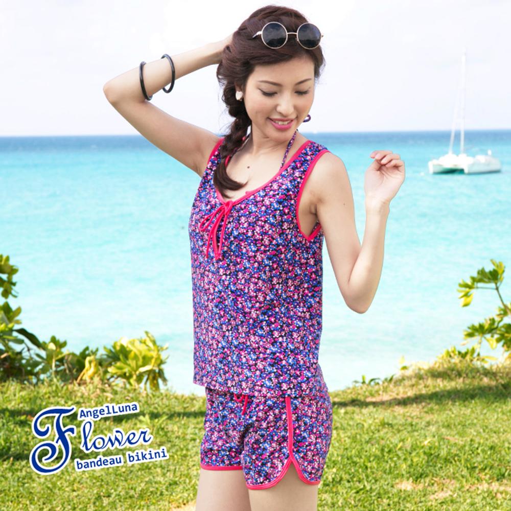【AngelLuna日本泳裝】 復古小碎花四件式比基尼泳衣-紫色