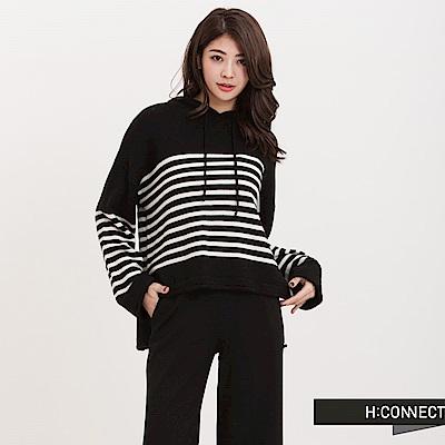 H:CONNECT 韓國品牌女裝-毛料條紋連帽T-Shirt-黑