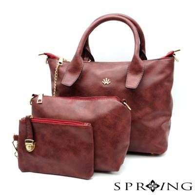 SPRING-典雅美學托特子母包三件組-水洗紅