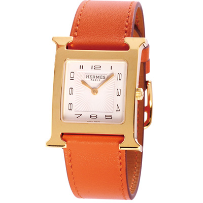 HERMES H-OUR 系列經典金框石英時尚腕錶-白x橘錶帶/25*35mm