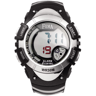 FEMA 炫彩流行 計時鬧鈴 數位運動錶(P308B)-黑/43mm