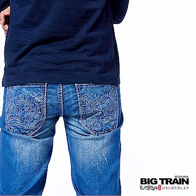 BIG TRAIN 浪濤小直筒褲-男-淺藍