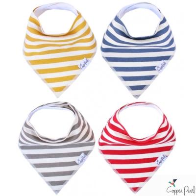 Copper Pearl 美國 四色條紋雙面領巾圍兜口水巾4件組
