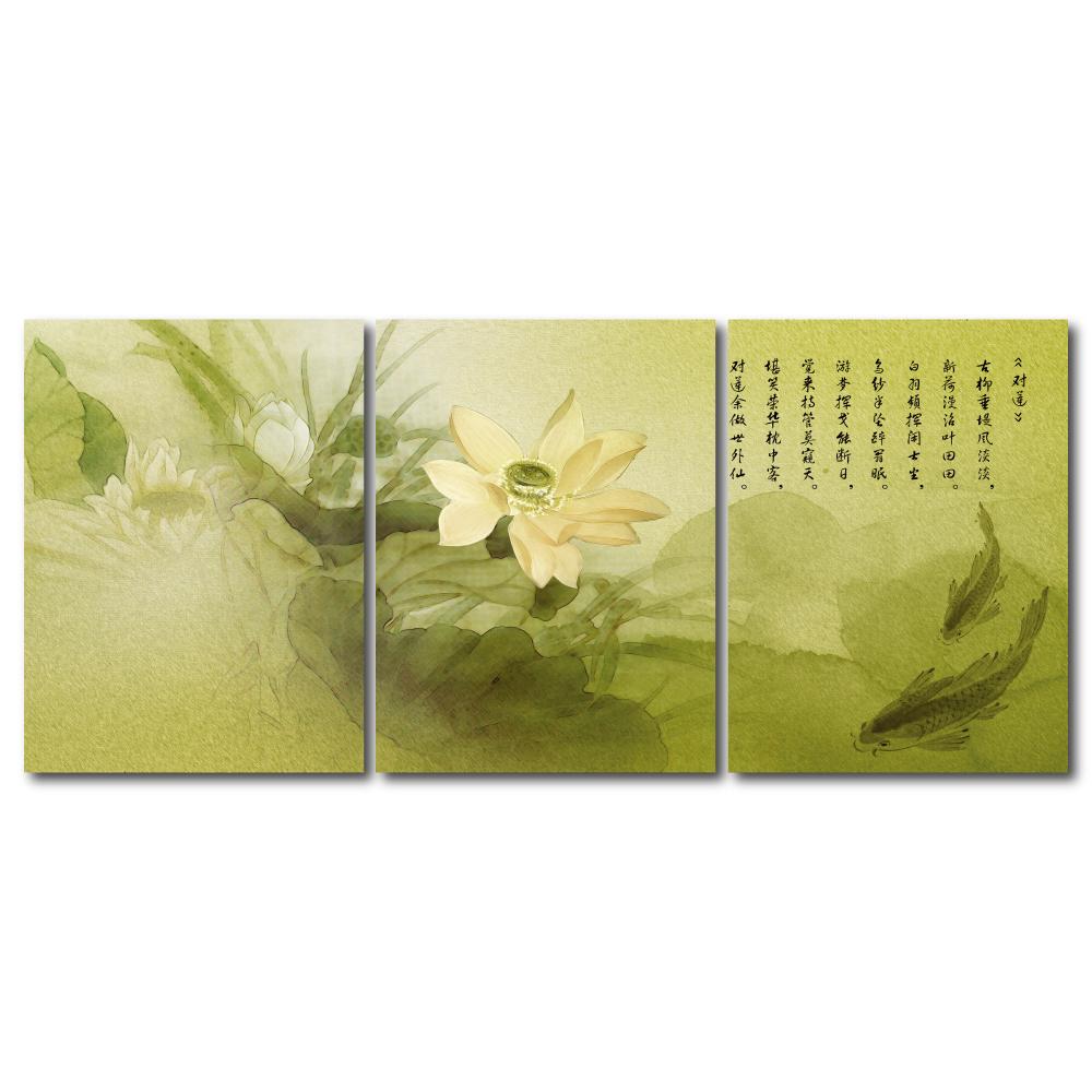 橙品油畫布- 三聯無框圖畫藝術家飾品 - 對蓮30*40cm