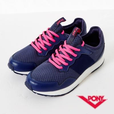 【PONY】SLIGHTLY系列-青春樣色舒適休閒鞋-女性-深藍/桃