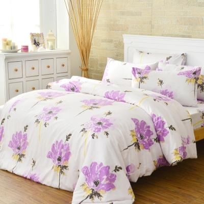 LAMINA 花語綻放-粉紫-精梳棉四件式被套床包組(雙人)
