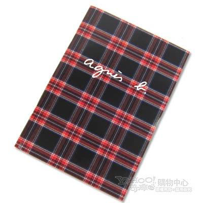 agnes b.蘇格蘭紋筆記本(黑)