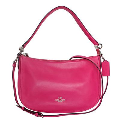 COACH-桃紅色全皮銀字飾牌肩背-斜背小包