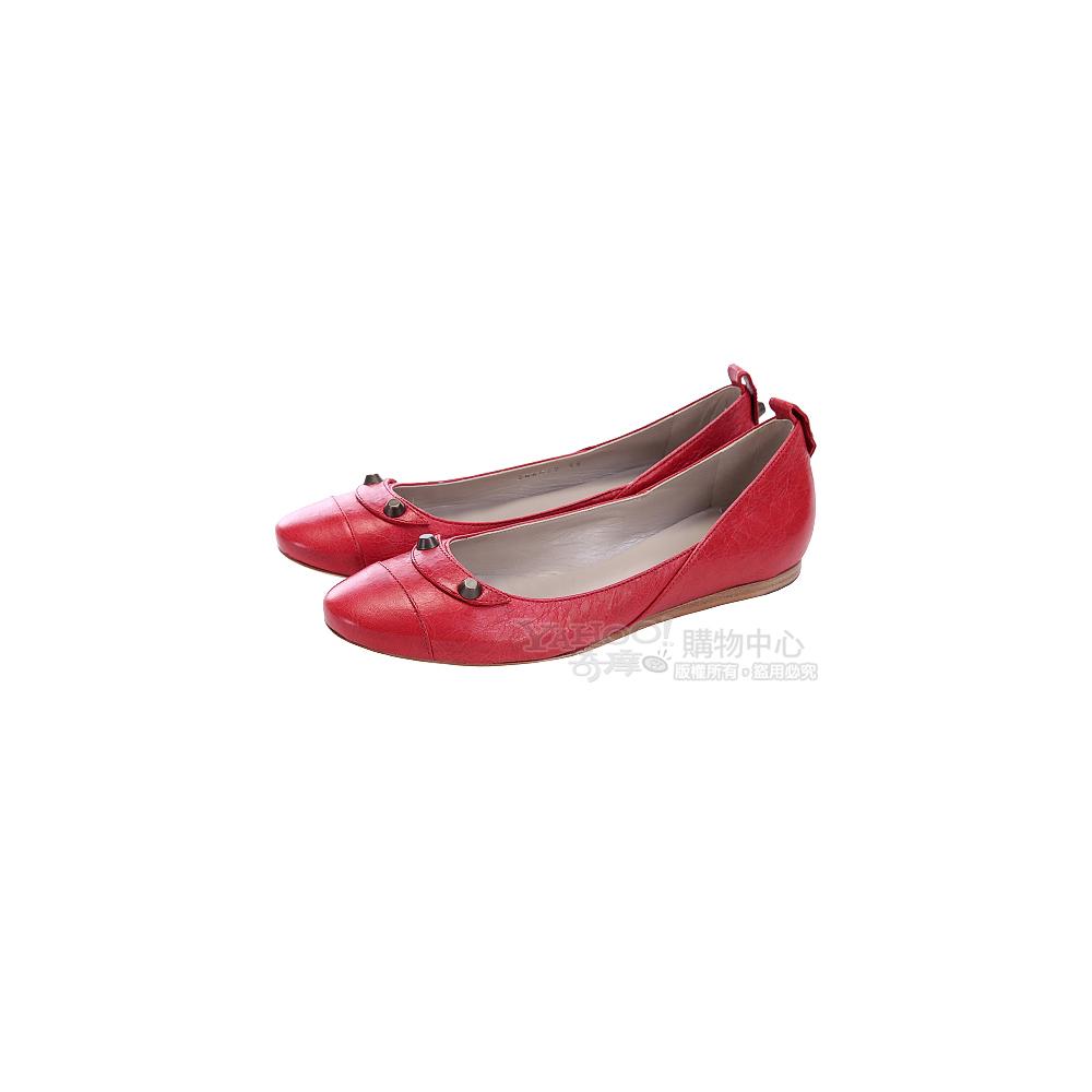 BALENCIAGA Classic 紅色小羊皮經典釦娃娃鞋