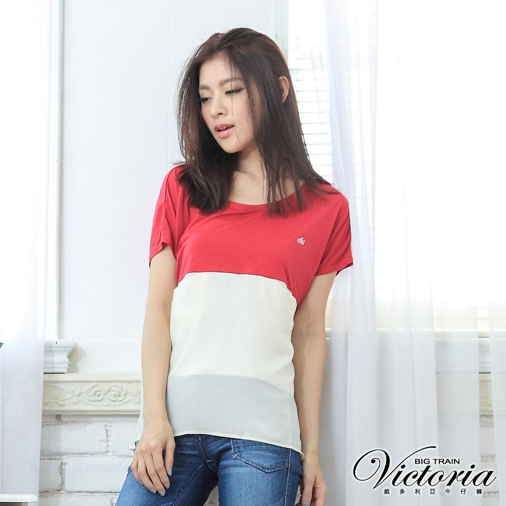 Victoria 雪紡拼接口袋TEE-女-深桃紅