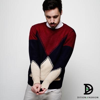 DITION-聖誕V型拚接式菱格圖領針織衫保暖毛衣-共二色