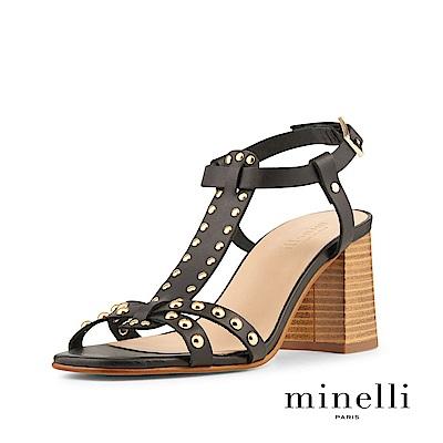 Minelli--義大利製造 全真皮鉚釘踝帶粗高跟涼鞋-個性黑