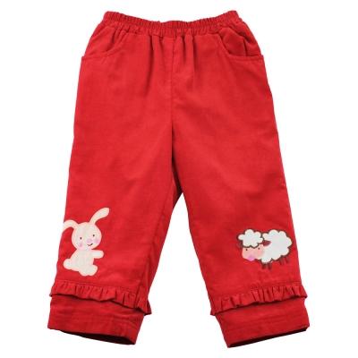 愛的世界 MYBEAR 純棉兔與羊鬆緊帶條絨口袋長褲/<b>3</b>-4歲-中國製-
