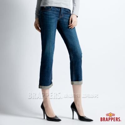 BRAPPERS 女款 Boy Firend Jeans 系列-女用彈性七分反摺褲-藍