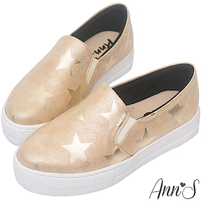 Ann'S進化2.0!星星印刷足弓墊腳顯瘦厚底懶人鞋-金